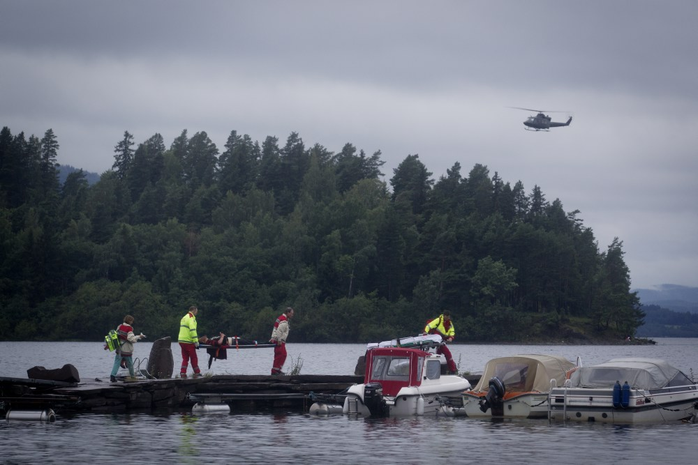 Wounded people being transported from the island Utoya after the massacre on July 22 2011.