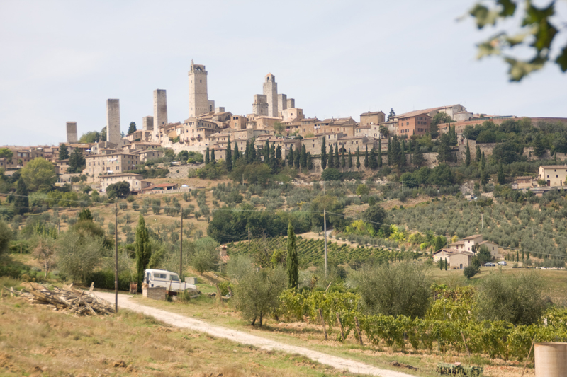 Landscape view of San Gimignano and surrounding