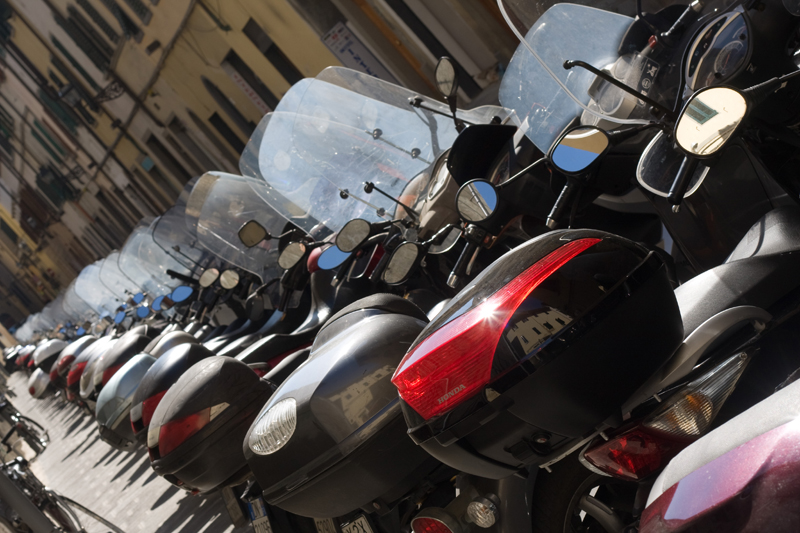 Long row of Scooters in Florence, Italy