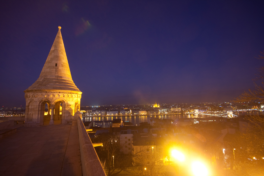 Fishermans Bastion Budapest during nighttime