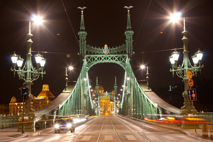 Liberty Bridge Budapest at nighttime