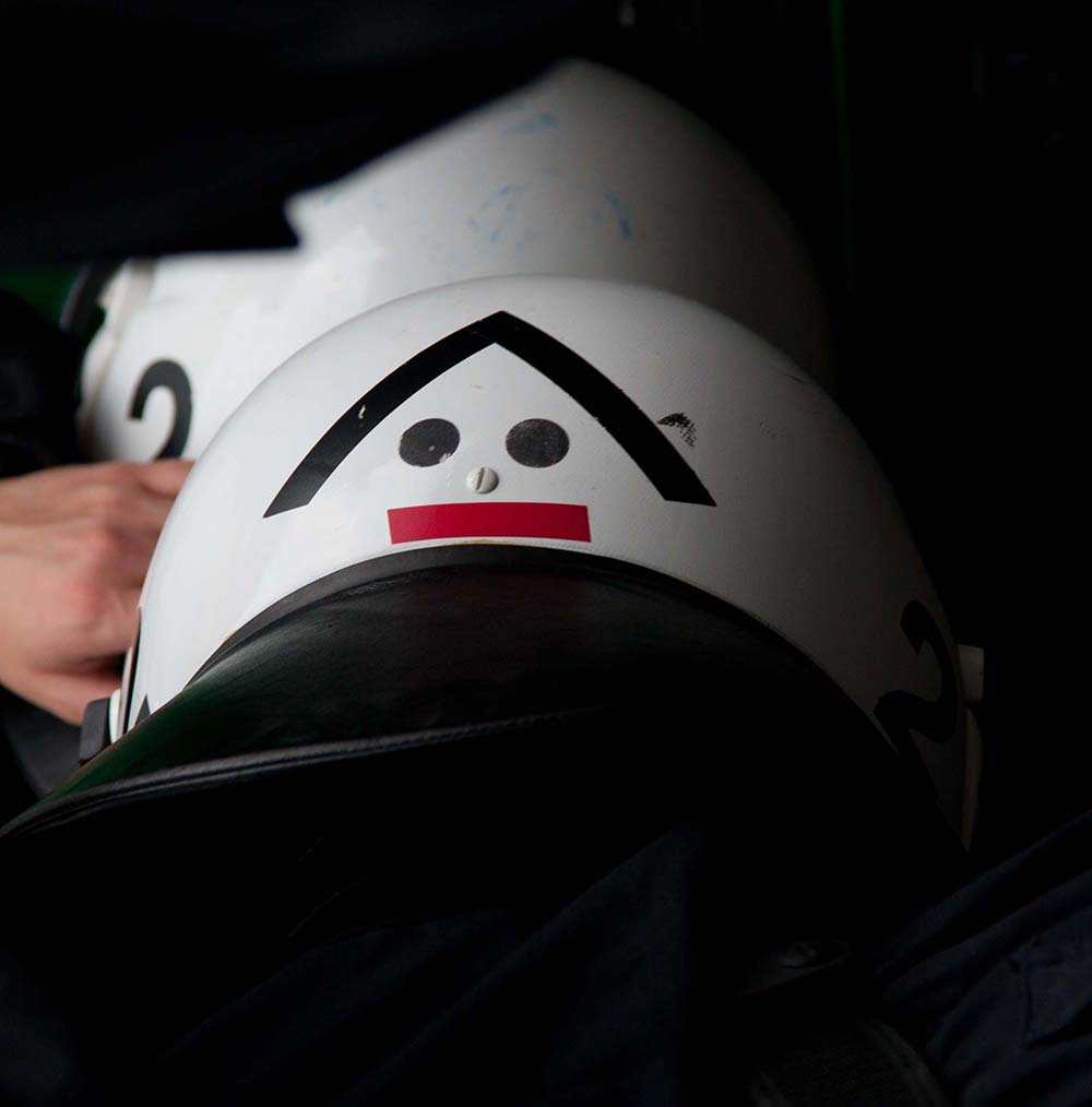 Police helmet looking like a funny face on May 1st 2012 in Berlin