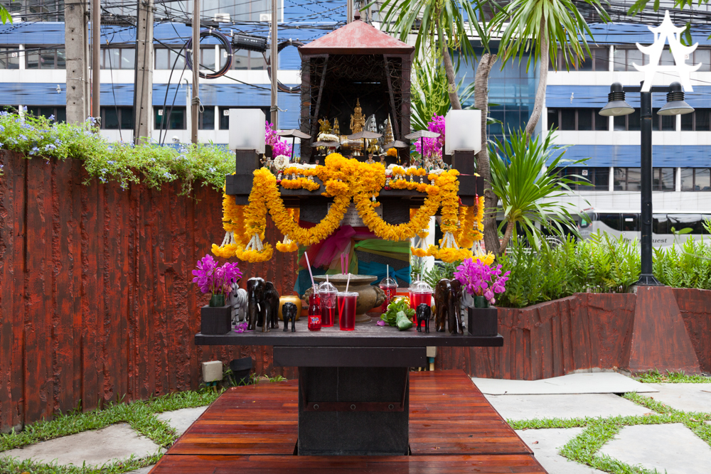A holy shrine in Bangkok with Red Fanta