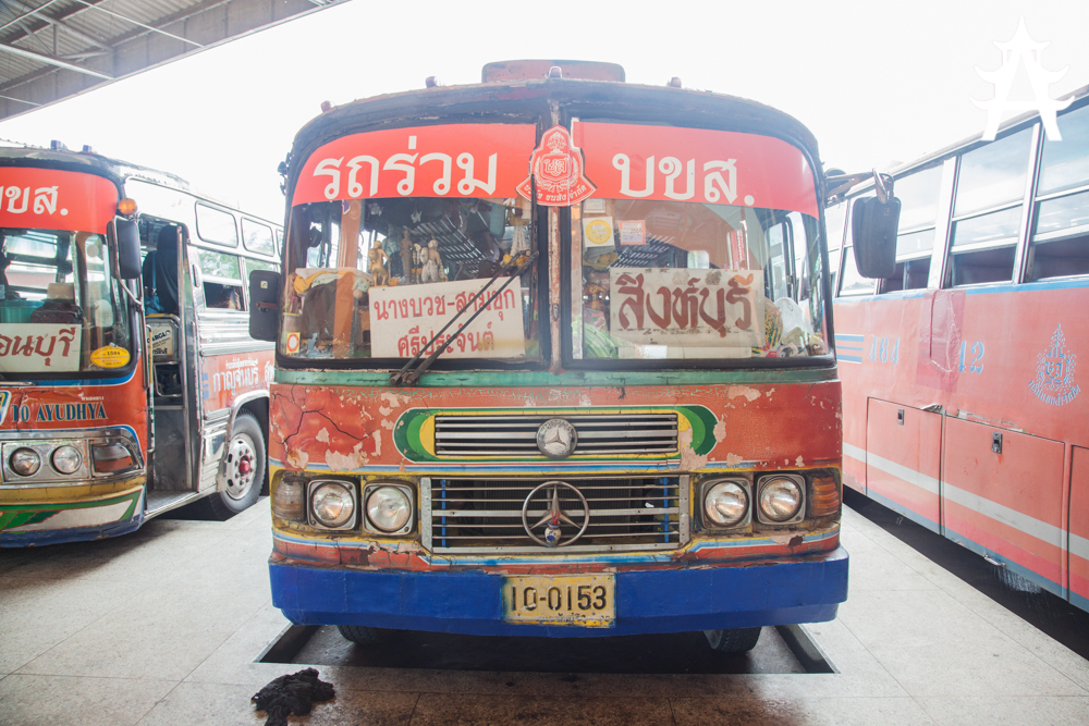 Very old Mercedes Benz bus from Kanchanaburi to Lopburi