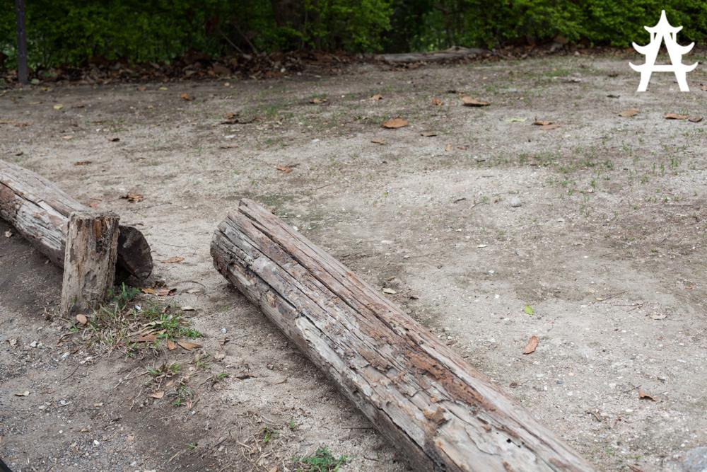 Broken wood blockade