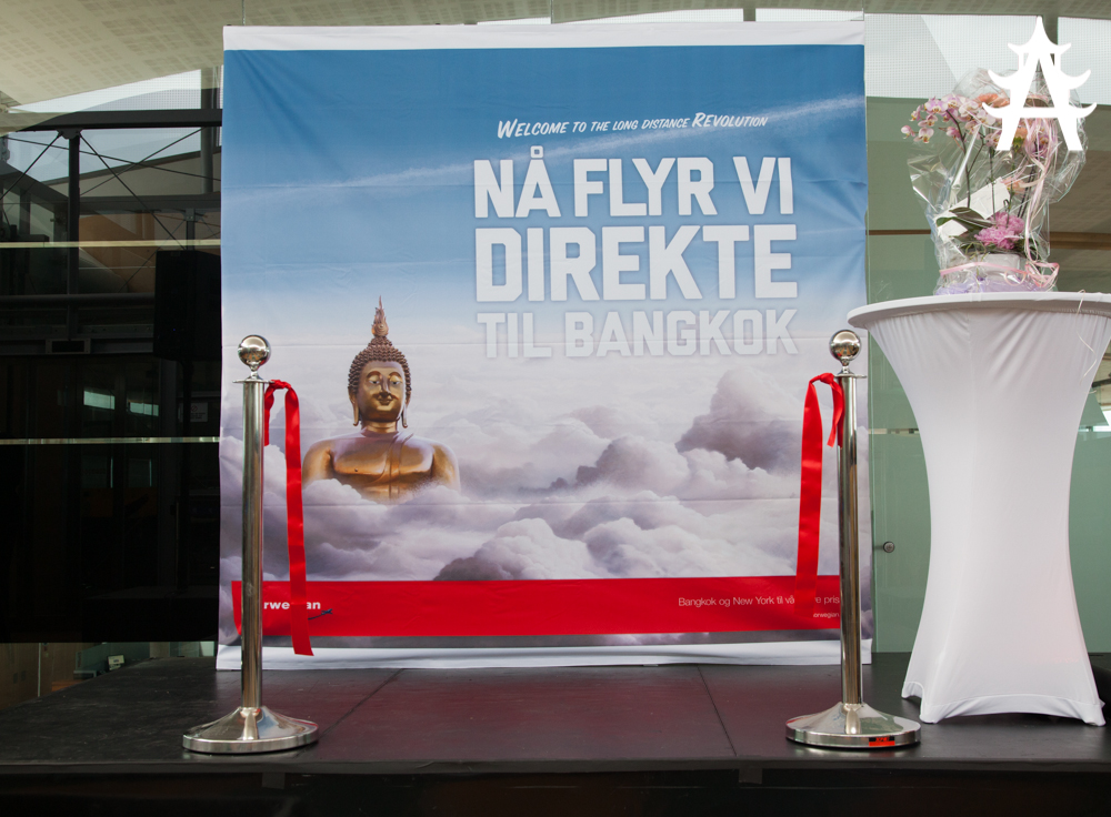 Norwegian Airlines celebrating their first flight from Oslo to Bangkok on June 01 2013
