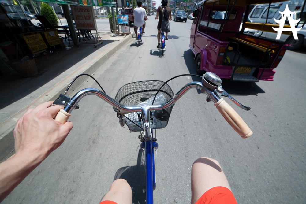 On the rental bike through Ayutthaya