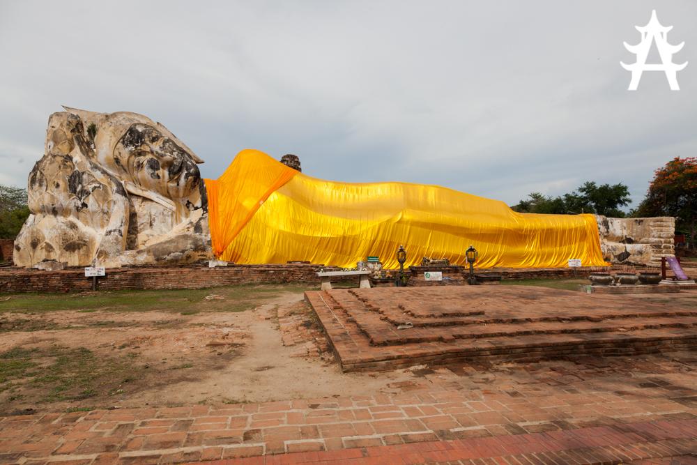 The lying Buddha Wat Lokayasutharam in Ayutthaya