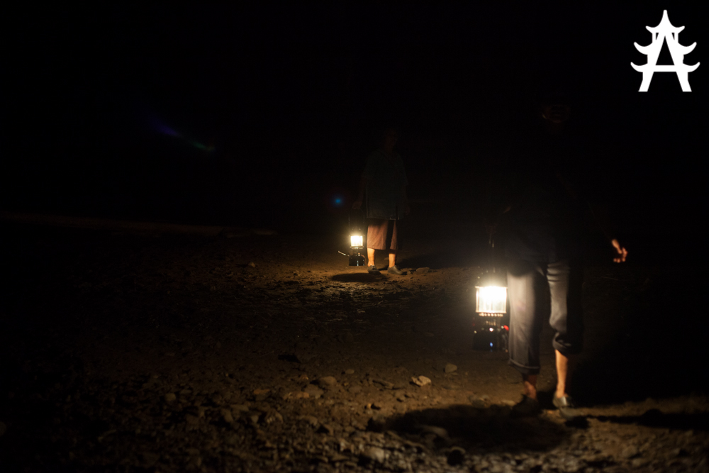 Gas lamps inside the cave