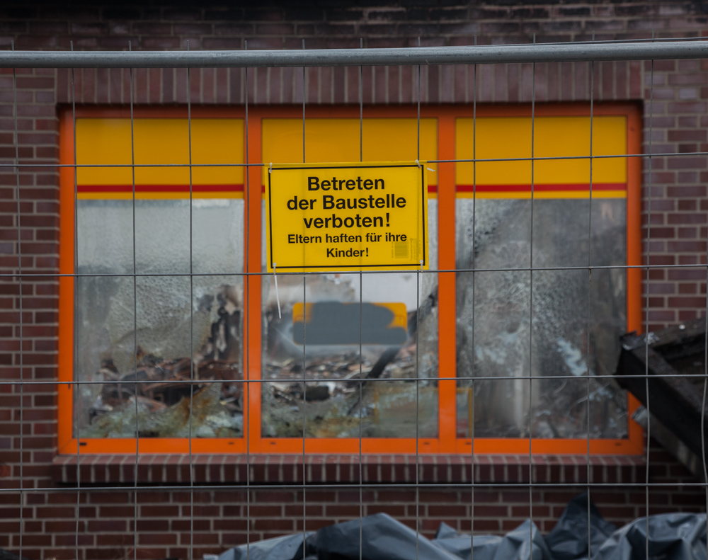 Burnt out Netto supermarket