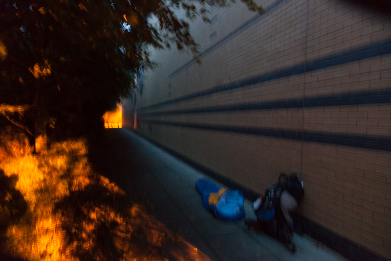 Sleeping on the curb in UK
